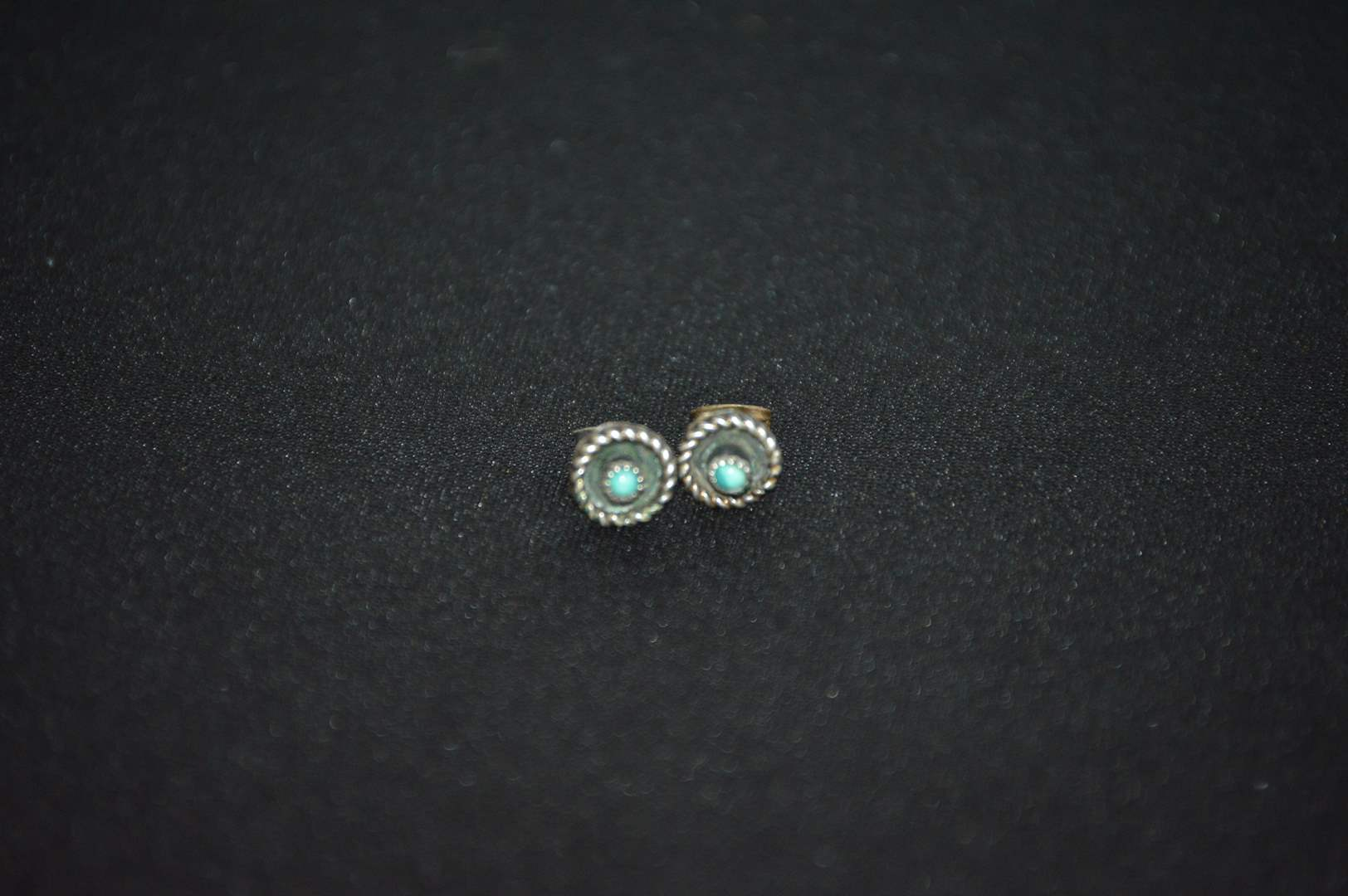 Lot # 83 Small Sterling Silver & Turquoise earrings (main image)