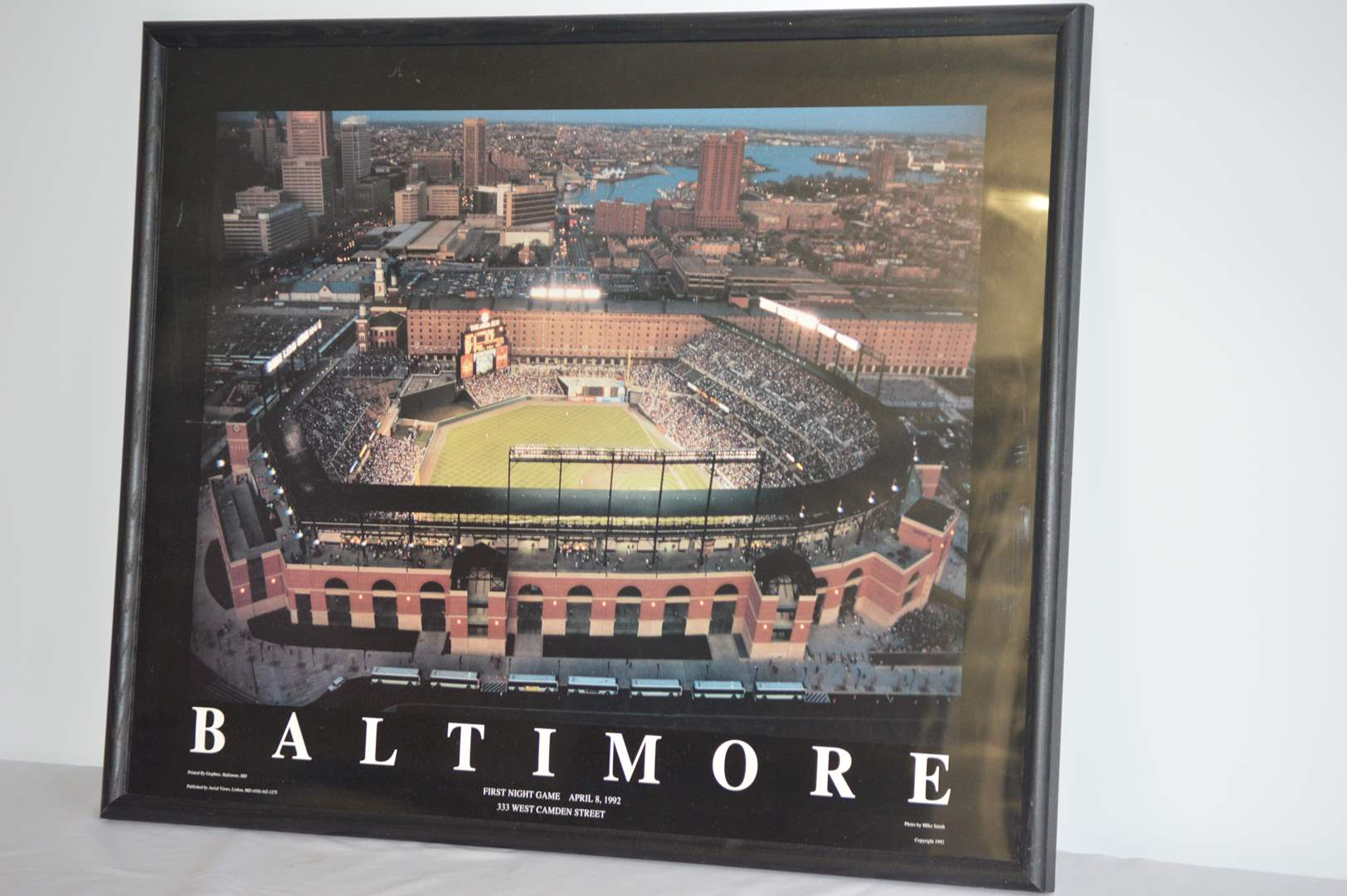 """Lot # 88 Baltimore Orioles Camden Yards """"First night game"""" aerial poster (main image)"""