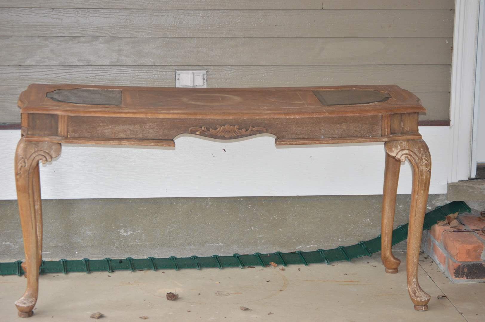 Lot # 92 Wood couch table with beveled glass (main image)