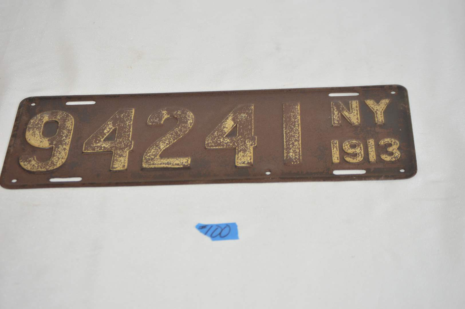 Lot # 100 Antique 1913 New York license plate (main image)