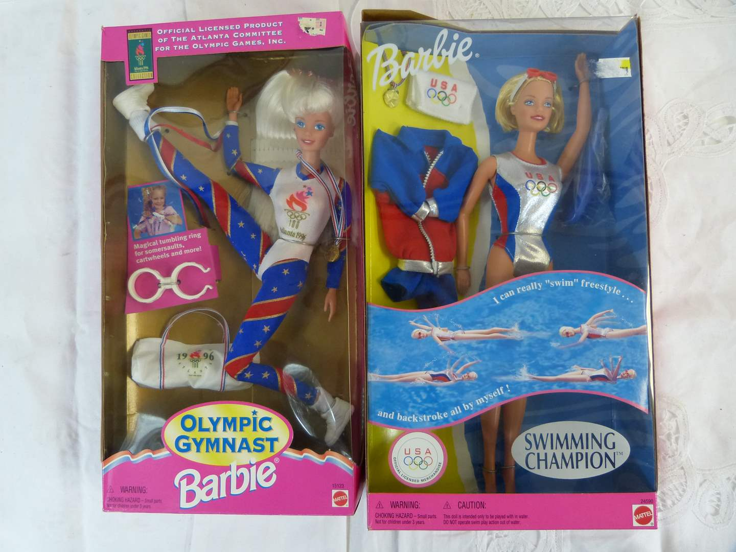 Lot # 2 2 Barbie dolls Olympic & Swimming in excellent condition (main image)