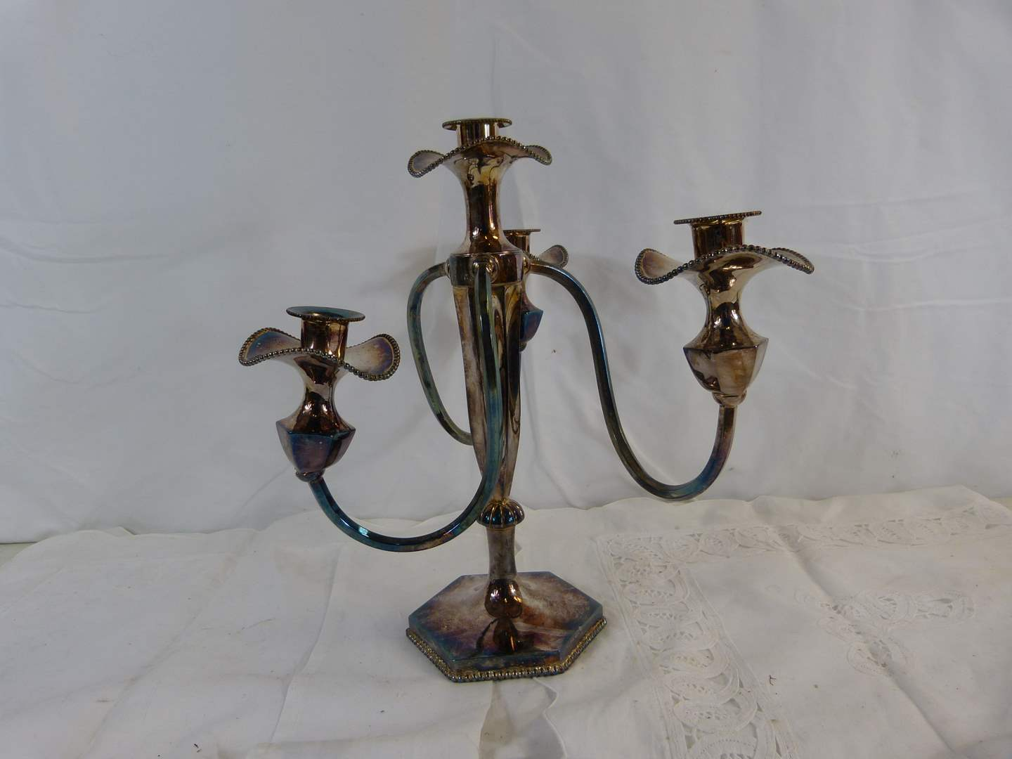 Lot # 8 Silver Plated Candleabra 4 holders in good condition (main image)