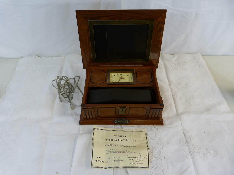 Lot # 9 Vintage Crosley Telephone & clock in wood case (main image)