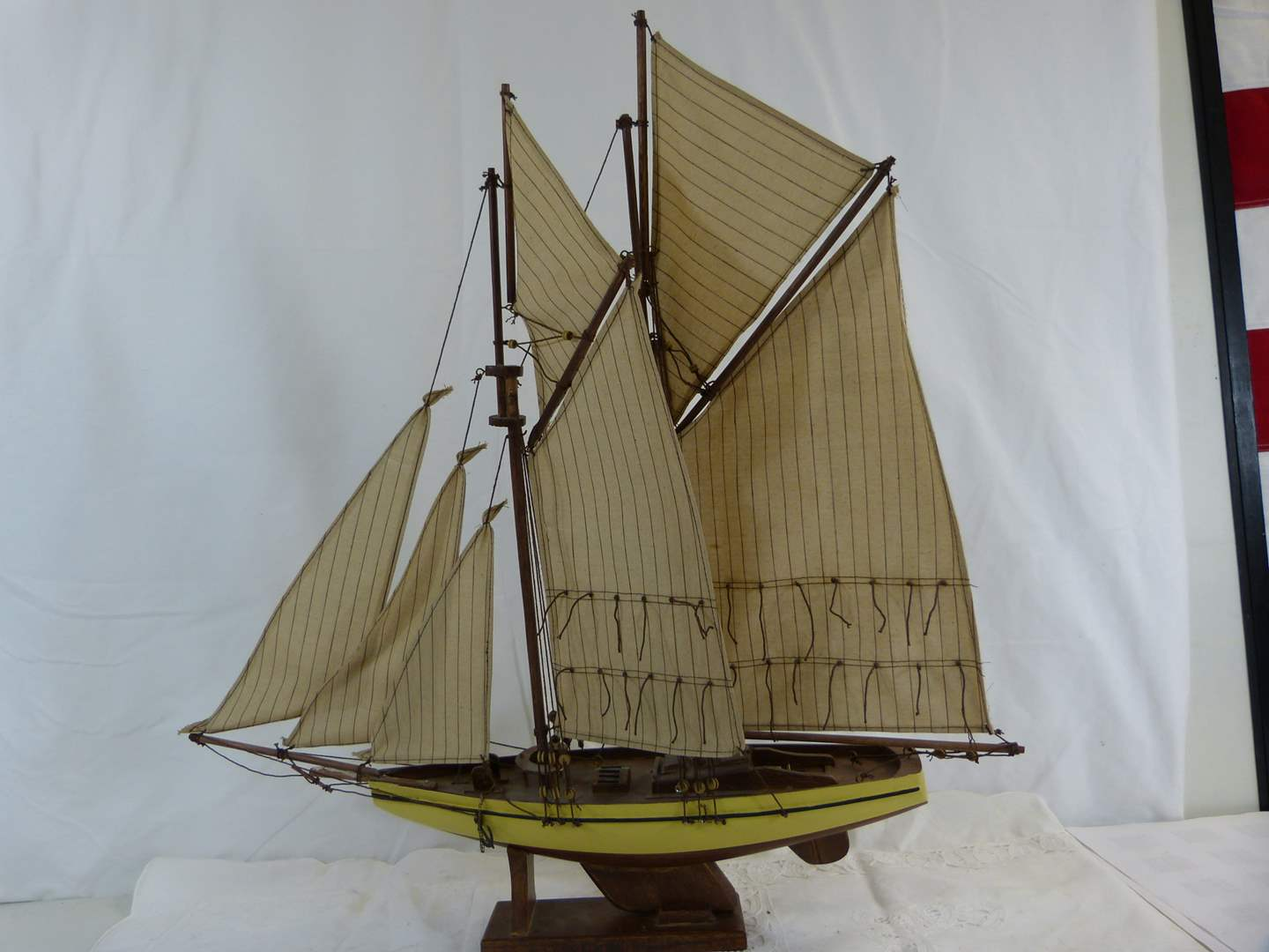"""Lot # 89 Clipper ship 25X22"""" NICE Mast on stand (main image)"""