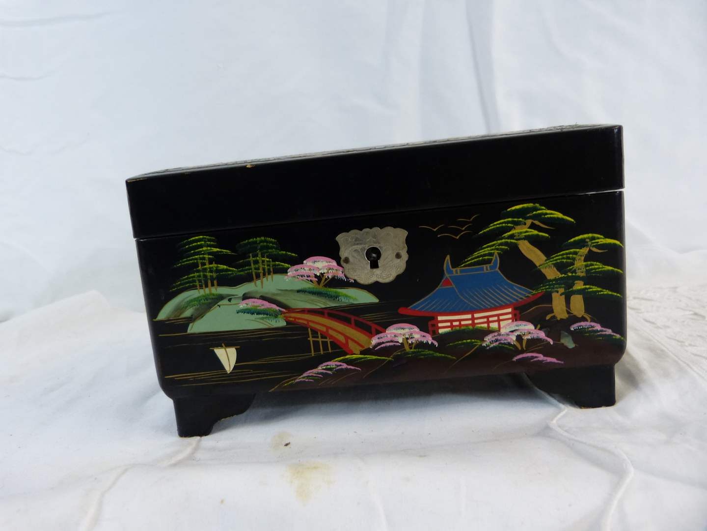 Lot # 243 Oriental hand painted jewelry box  (main image)