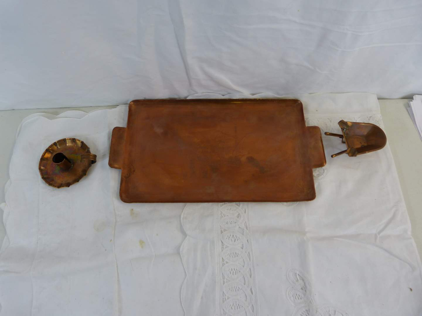"""Lot # 244 GREAT lot of hand hammered copper (large tray is 15"""" X 9"""") (main image)"""