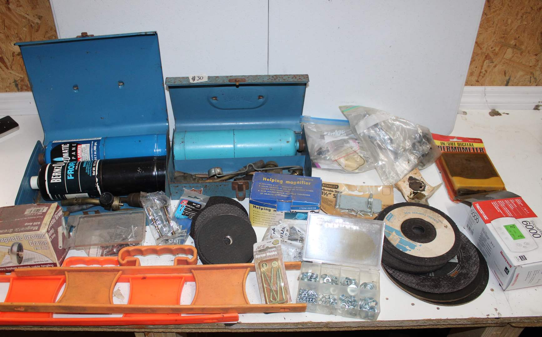 Lot#30 Bernz O Matic Torch Kit, Grinding wheels, magnetic ground clamp, garage misc  (main image)