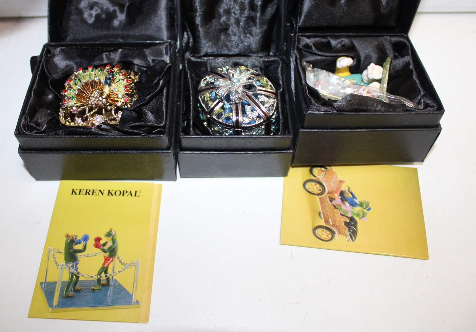 Lot#71 3 Collectible Keren Kopal Bejeweled Trinket Boxes  (main image)