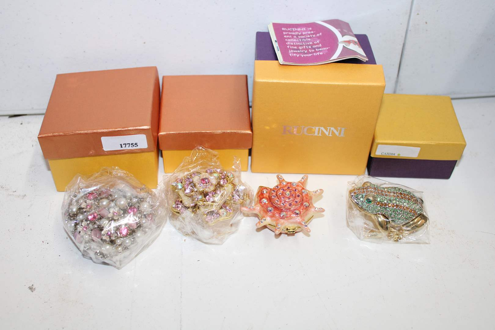 Lot#74 4 Collectible Bejeweled Trinket Boxes  (main image)