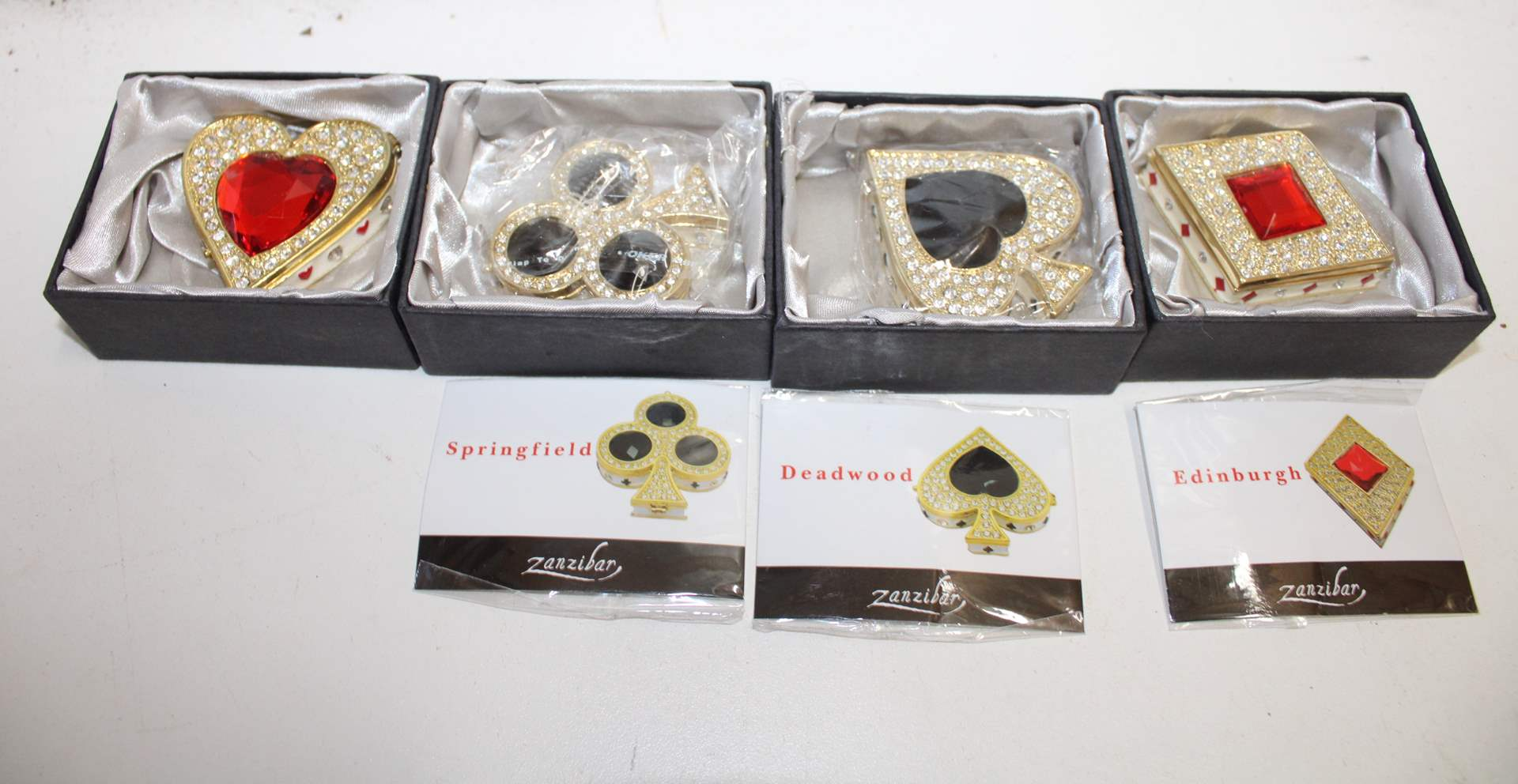 Lot#84 Collectible Bejeweled Zanzibar Trinket Boxes - Deadwood, Springfield, Edinburgh, The River Thames (main image)