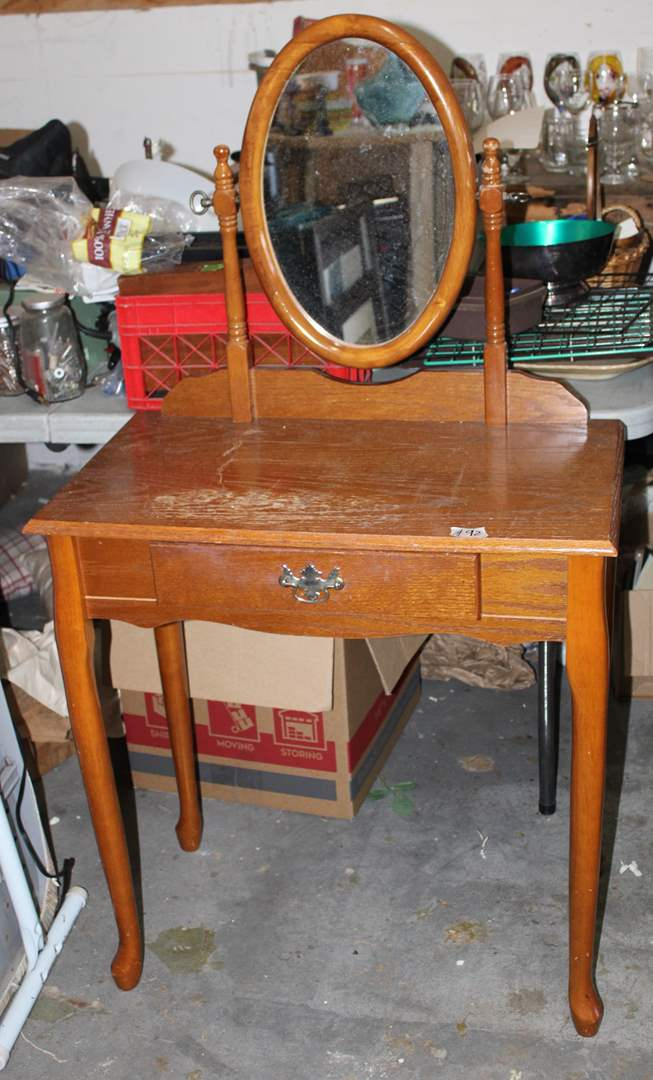"""Lot#92 Small Single Drawer Vanity Table w/ Mirror 28.5"""" x 16"""" x 51""""h - has wear   (main image)"""